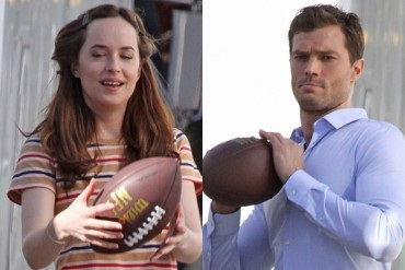 "Dakota Johnson and Jamie Dornan playing ball on the set of the film ""50 shades darker"""