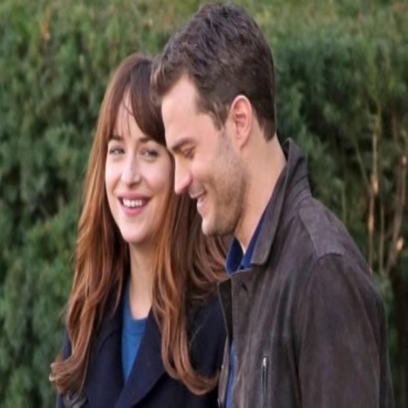 "Dakota Johnson and Jamie Dornan having fun on the set of the film ""50 shades darker"""