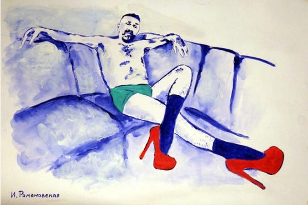 Художница нарисовала Шнурова на лабутенах и в трусах