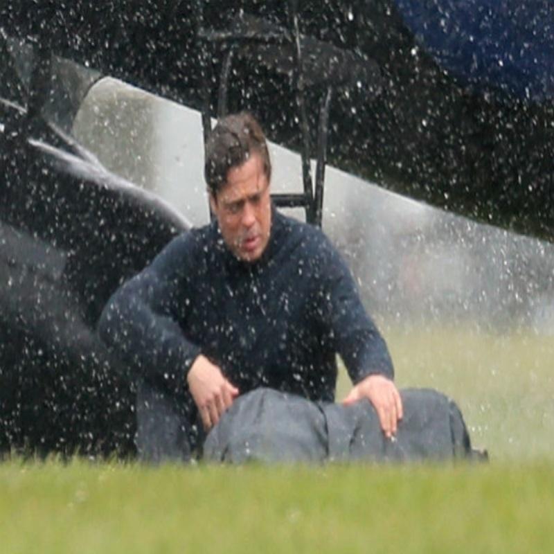 "Брэд Питт на съемках фильма ""5 секунд тишины"" в Англии"