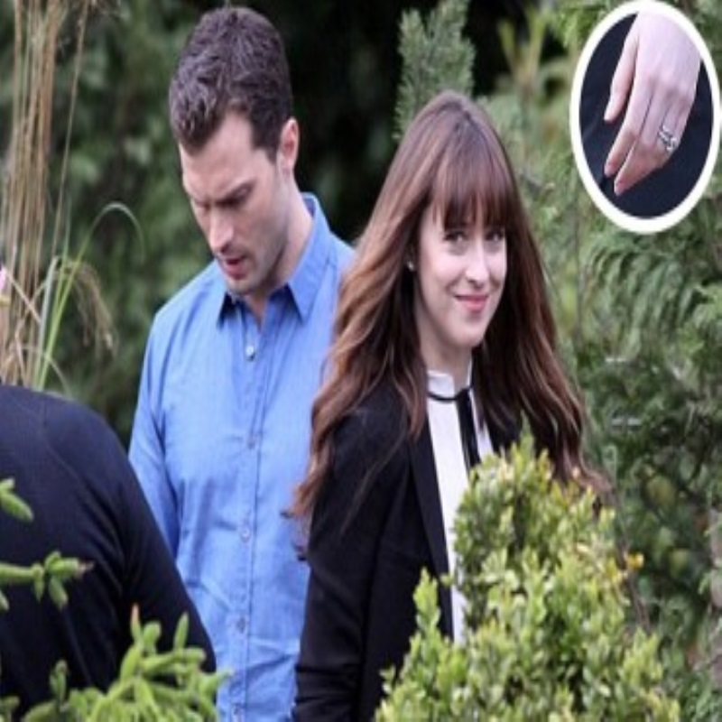 "Mr. and Mrs. grey: Jamie Dornan and Dakota Johnson on the set of the sequel to ""50 shades of grey"""
