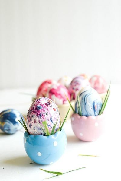 Как сделать мраморные яйца наПасху своими руками