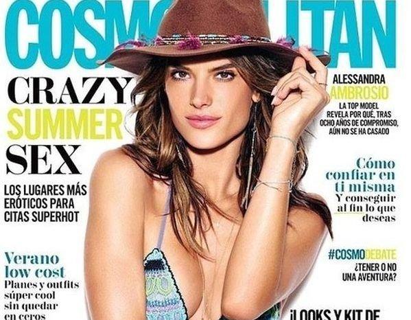 Алессандра Амбросио на обложке Cosmopolitan в купальнике