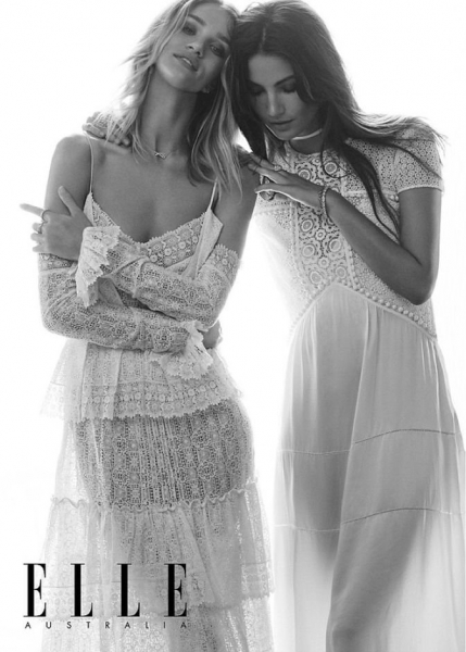 Рози Хантингтон-Уитли  и Лили Олдридж в совместном фотосете для ELLE