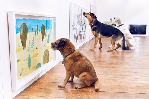 Художник устроил выставку картин только для собак