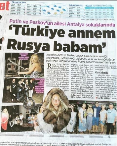 18-летняя Лиза Пескова стала звездой турецких газет