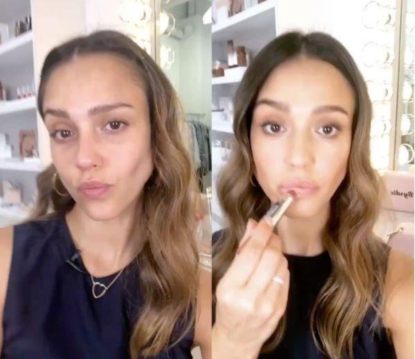 Джессика Альба показала себя до нанесения макияжа