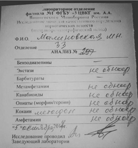 Маша Малиновская поделилась результами анализов на запрещенные средства