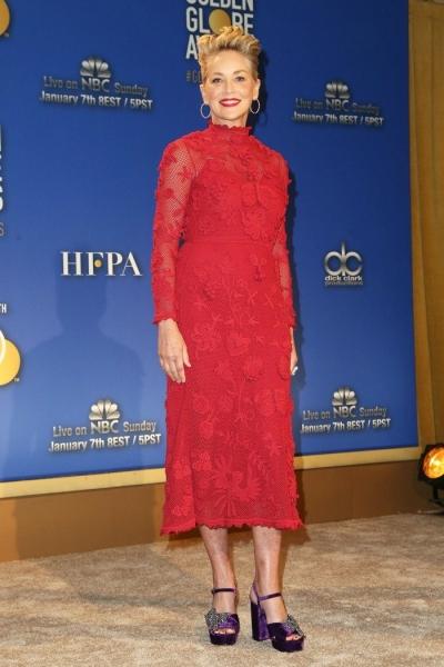 Шэрон Стоун удивила публику красным платьем в сеточку