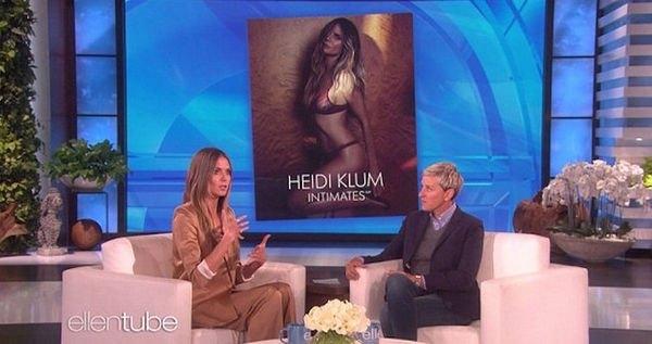 Хайди Клум появилась в брючном костюме, из-под которого выглядывало нижнее белье