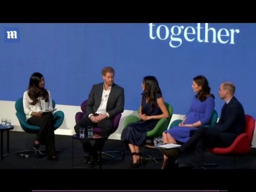 Меган Маркл и Кейт Миддлтон с принцами Гарри и Уильямом приняли участие в форуме Royal Foundation