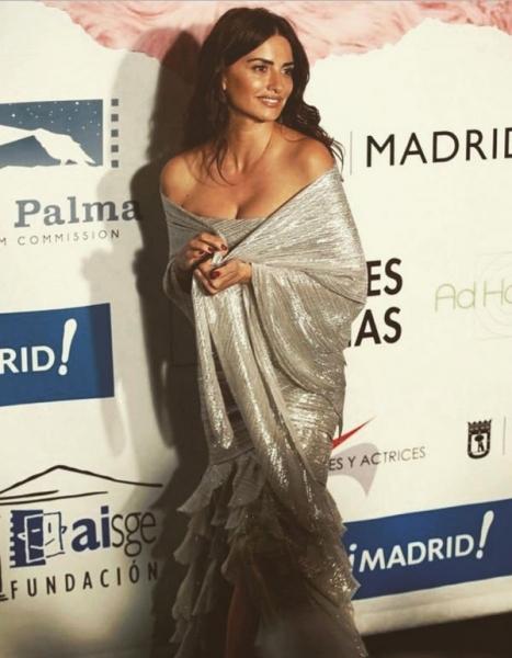 Пенелопа Крус вышла в свет в серебристом платье и произвела фурор