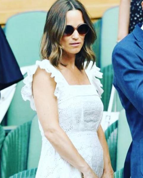 Пиппа Миддлтон в белом платье подчеркнула округлившийся живот