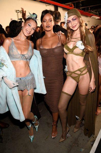 Неделя моды в Нью-Йорке: модный перформанс с Беллой и Джиджи Хадид на показе Рианны