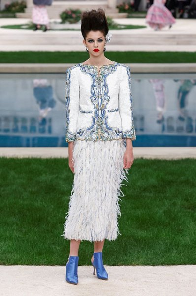 Неделя высокой моды в Париже: Кристен Стюарт, Тильда Суинтон и Кайя Гербер в перьях на показе Chanel