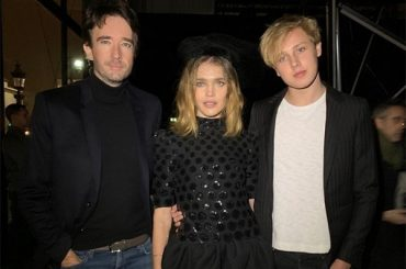 Natalia Vodianova with Antoine Arnault, and son Lucas at the show Celine