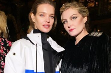 Natalia Vodianova in a jacket with a Russian flag and Renata Litvinova at the show Vetements