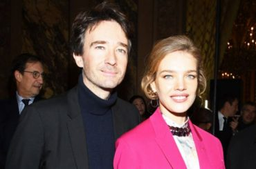 Natalia Vodianova in a bright pink suit visited the show along with Berluti Antoine Arnault