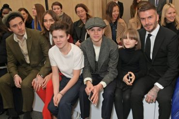 Fashion week in London: David Beckham with children on the show Victoria Beckham autumn-winter 2019/2020
