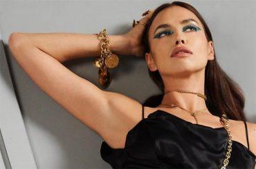 Lying: Irina Shayk in a shoot for Versace