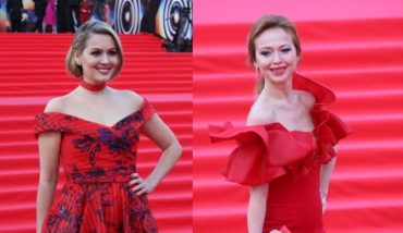 In red on the red carpet: Maria Kozhevnikov and Elena Zakharova